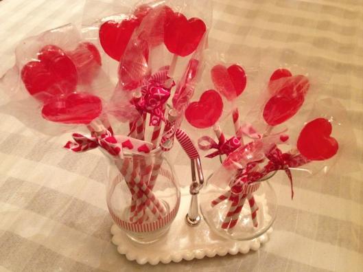 Valentine's lolipop centerpiece