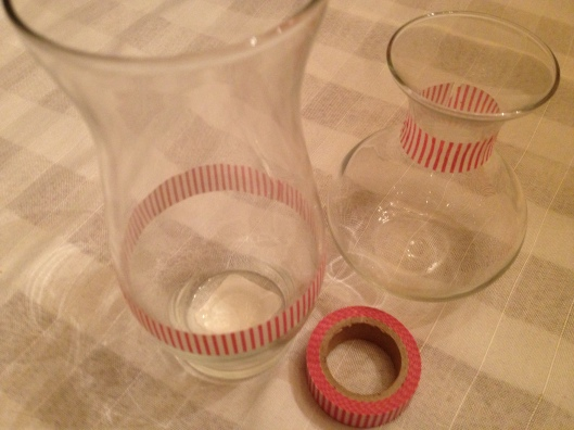 Washi tape on glass vases