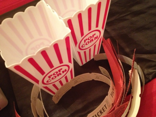 Popcorn box movie night centerpieces