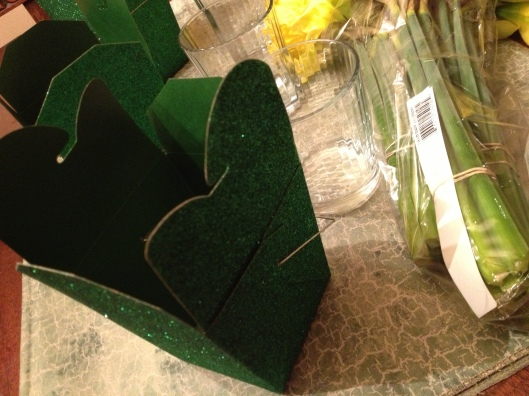 Sparkly Green Chinese Food Boxes