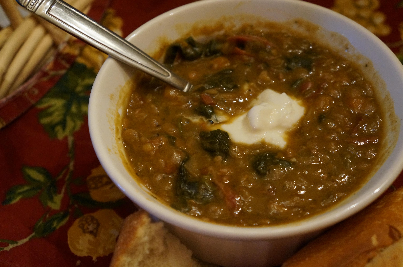 Comforting Slow-Cooker Ham & Lentil Soup | KristinPotPie