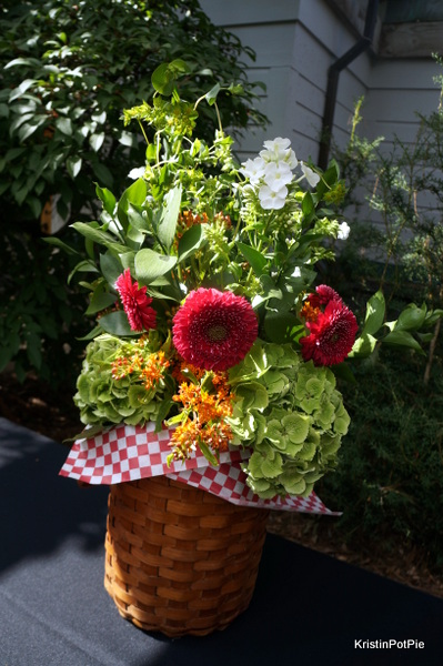 Picnic Basket Flower Arrangement